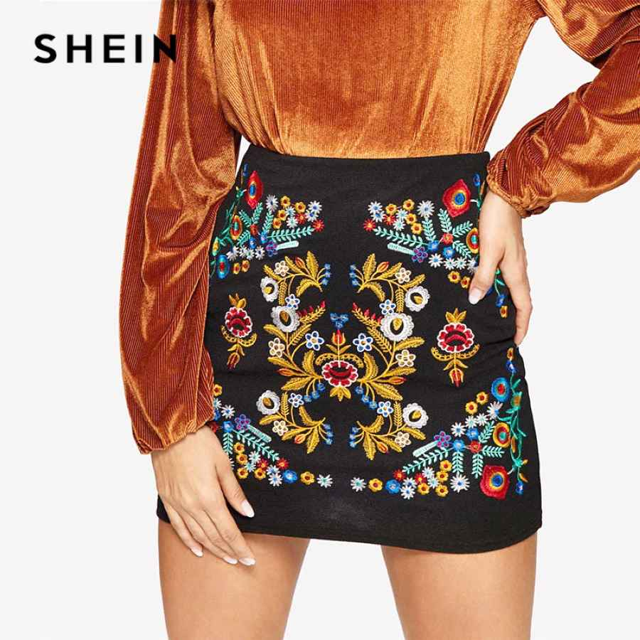 Black Botanical Embroidered Textured Skirt Casual Zipper Night Out Mini