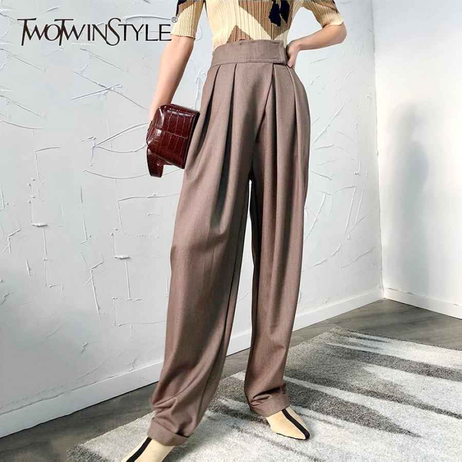 Casual Black Harem Trousers For Women High Waist Loose Wide