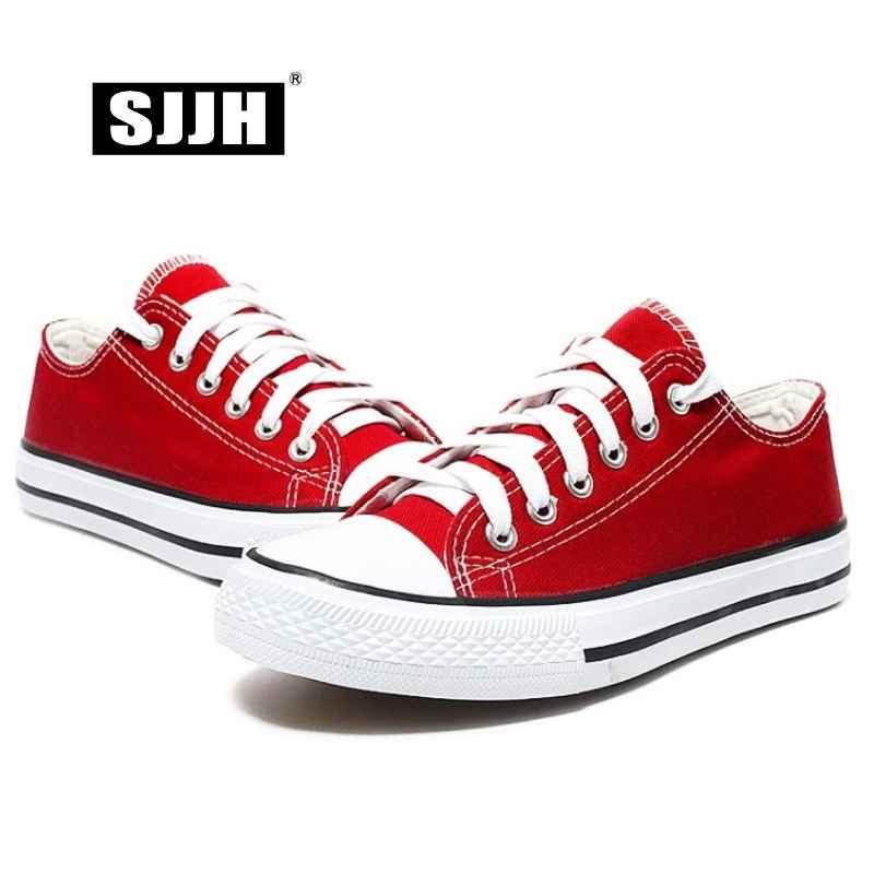 Sjjh Women Canvas Sneakers Lovers Comfortable Shoes Vulcanize Flats Casual