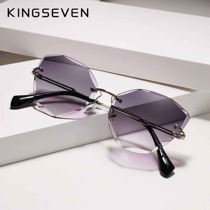 Design Rimless Fashion Cat Eye Sunglasses Women Gradient Driving Uv400
