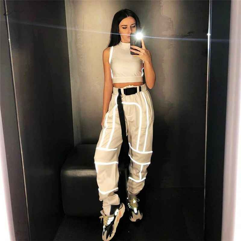 Pants macheda casual high waist harem pants patchwork reflective stripes
