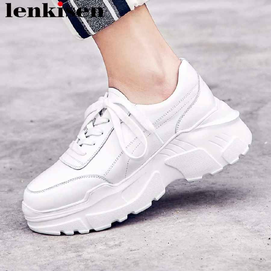 2019 New Arrival Full Grain Leather Popular White Sneakers High