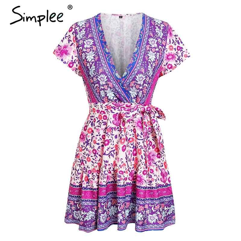 Floral Print Dresses Simplee V-Neck Purple Women Dress Short Sleeve