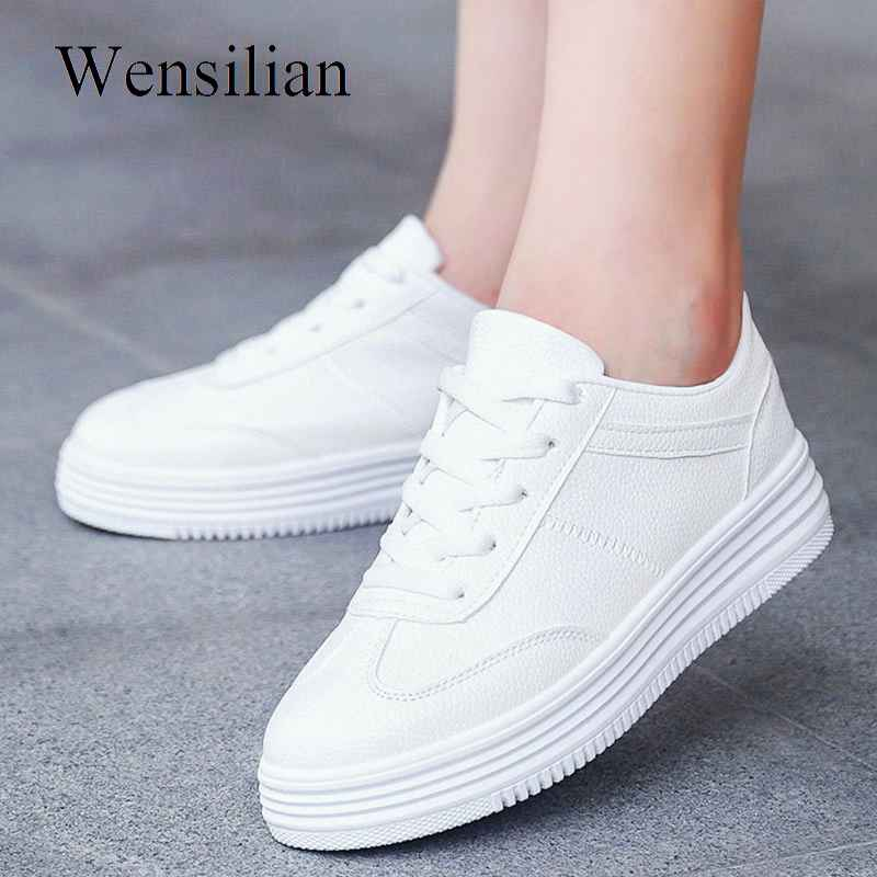 Womens Vulcanize Shoes Sneakers Women White Platform Sneakers Pu Leather