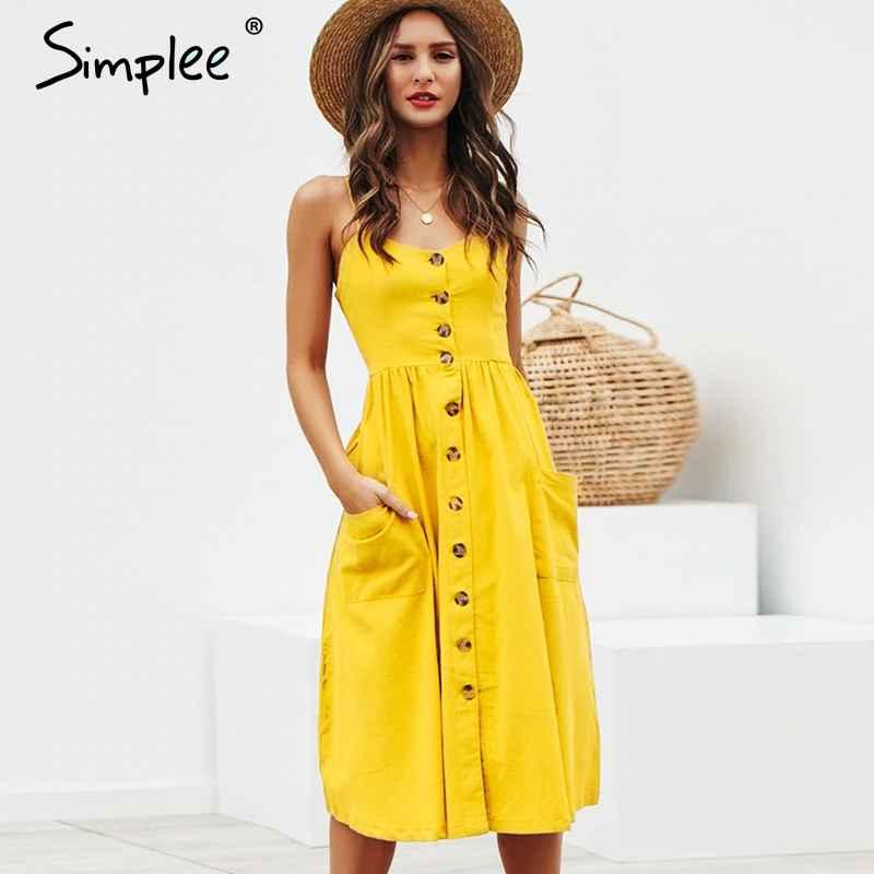 Elegant Button Women Dress Pocket Polka Dots Yellow Cotton Midi