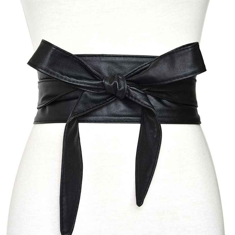 Fashion Pu Leather Obi Corset Belts For Ladies Black Yellow