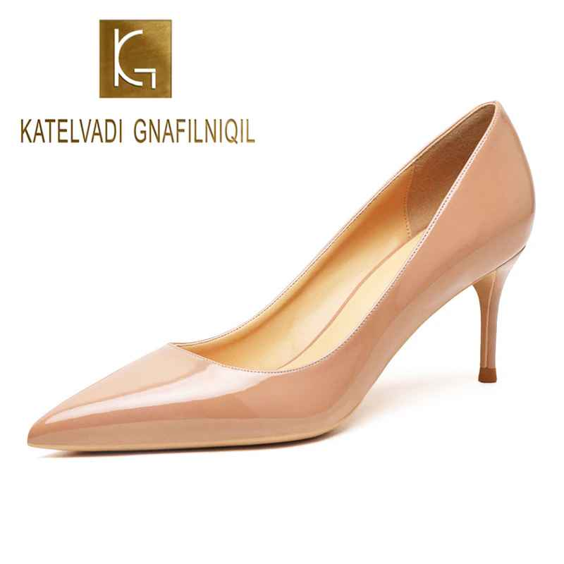 Katelvadi Beige Womens Shoes Patent Leather Shoes Woman High Heel