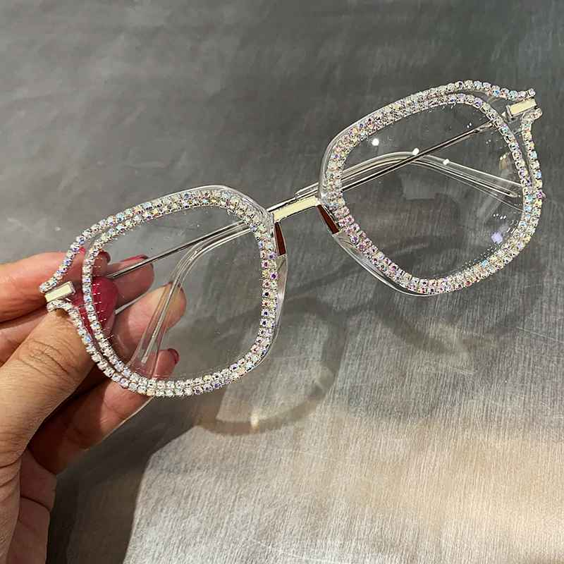 Gold Rhinestone Cat Eye Sunglasses For Women Brand Designer Shades