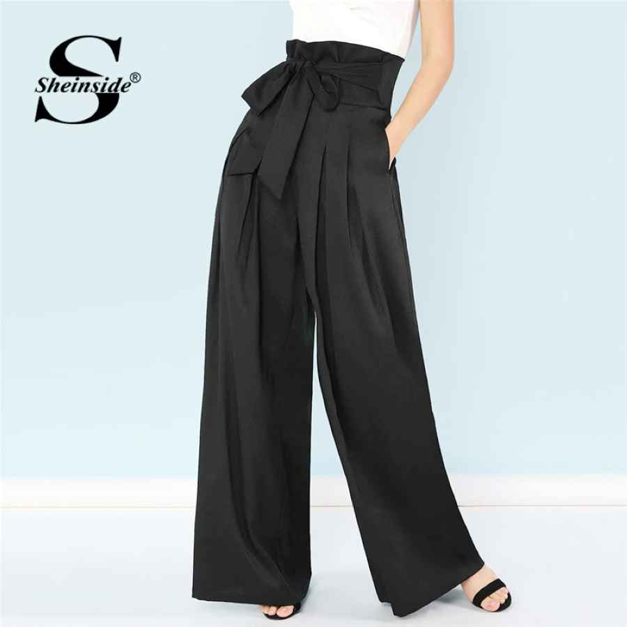 Black Self Belted Box Pleated Palazzo Long Pants Female Loose