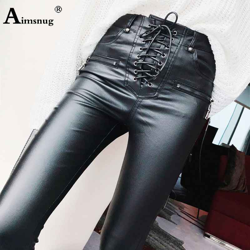 Pants women fashion high waist pu leather trousers lace-up skinny