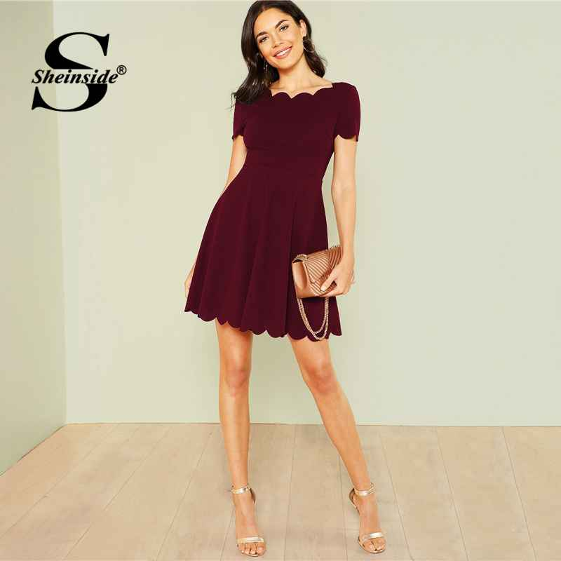 Maroon Scallop Trim Party Dress Elegant Office Ladies Solid Boat