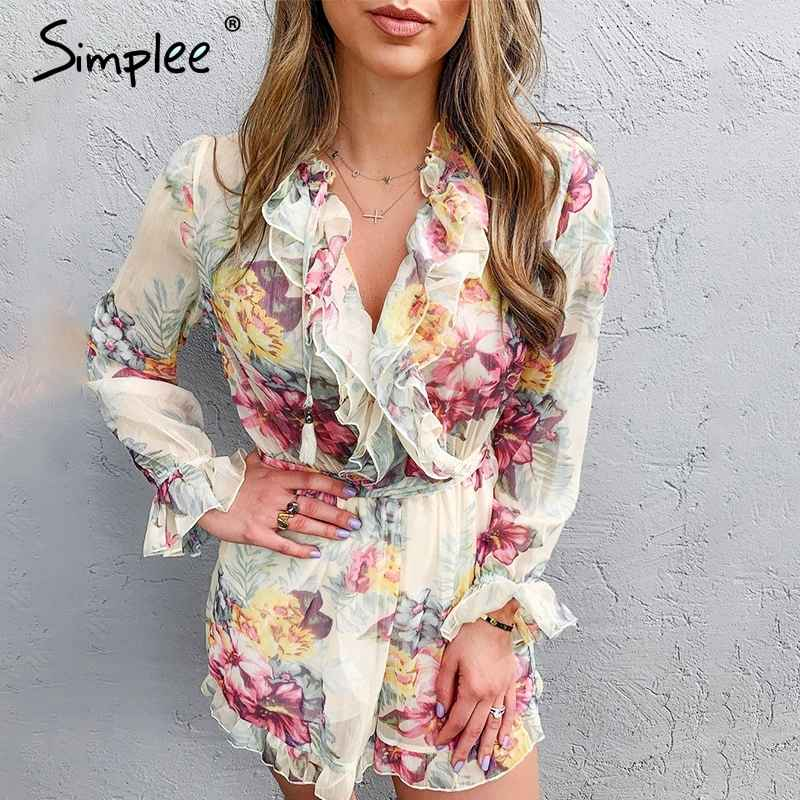 Floral Print Ruffled Women Jumpsuit Elegant Long Sleeve Female Jumpsuit