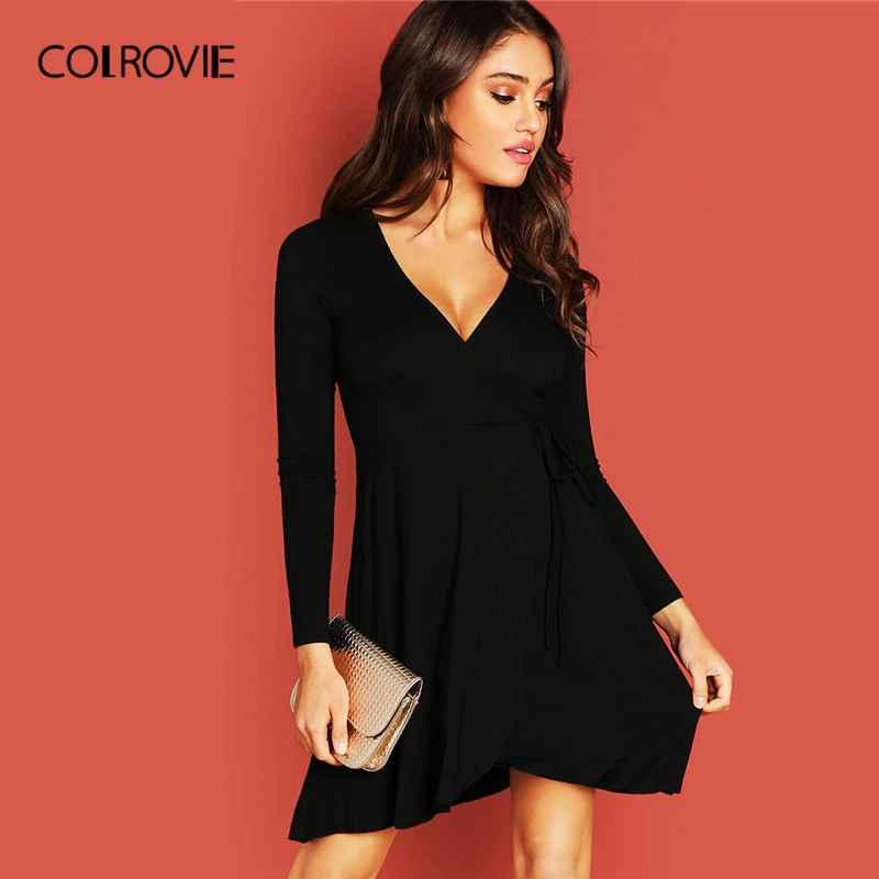 Colrovie Black V-Neck Knot Side Surplice Wrap Sexy Dress Women