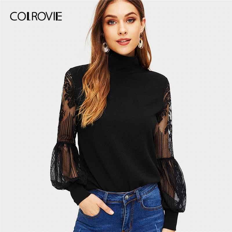 Colrovie Black Solid High Neck Contrast Lace Elegant Sweatshirt Women
