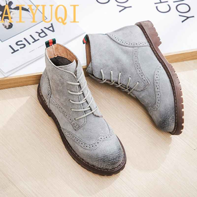 Female Martin Boots 2019 Spring New Genuine Leather Women Shoes