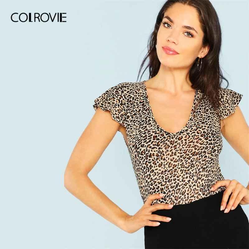 Colrovie V-Neck Short Flutter Sleeve Leopard Print Casual T-Shirt Women