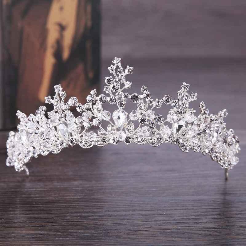 New Luxury Crystal Crown Handmade White Rhinestone Inlay Bridal Crown