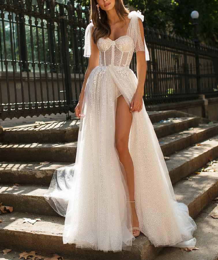 New Evening Dress White V-Neck Sleeveless Tulle High-Split Beach Backless