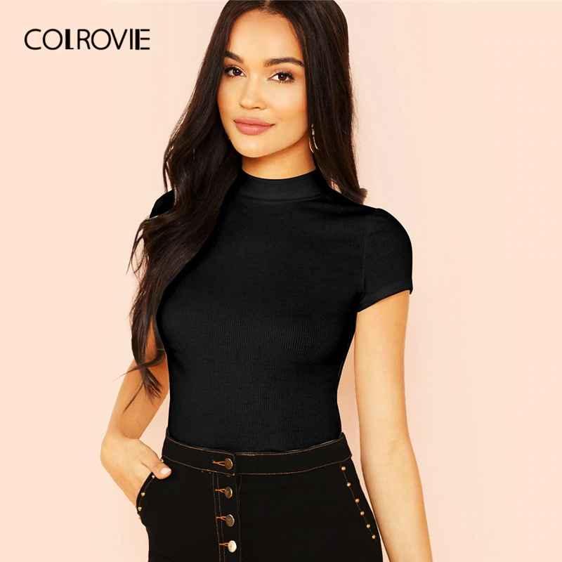 Colrovie Black Stand Collar Slim Fit Knit Sexy T-Shirt Women
