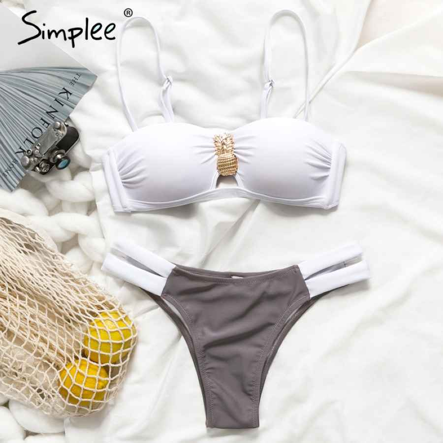 Push Up Two-Pieces Women Swimsuit Strap Push Up Padded Plus