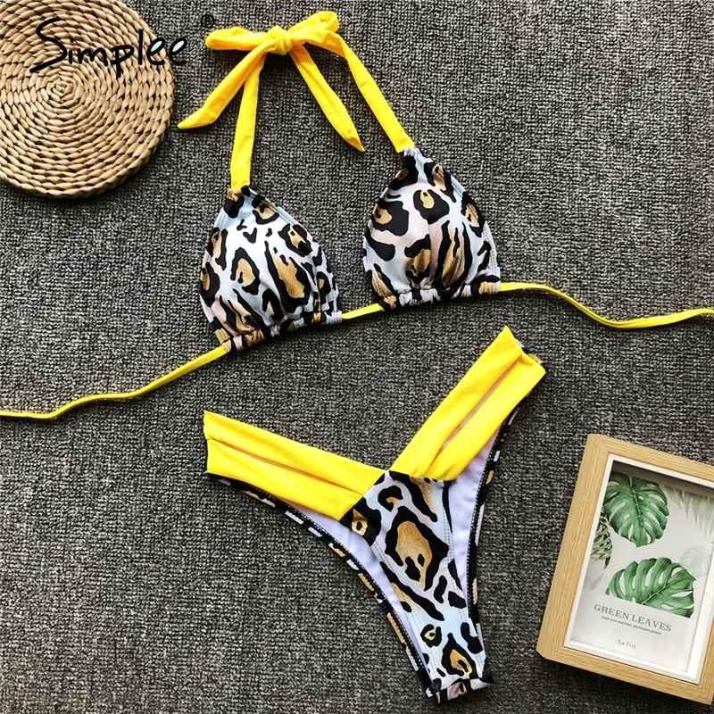 Swimwear Simplee Vintage Leopard Print Women Bra Sets Swimwear 2019