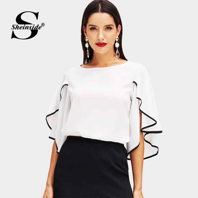 Elegant Split Flounce Sleeve Top Women 2019 Summer Butterfly Sleeve