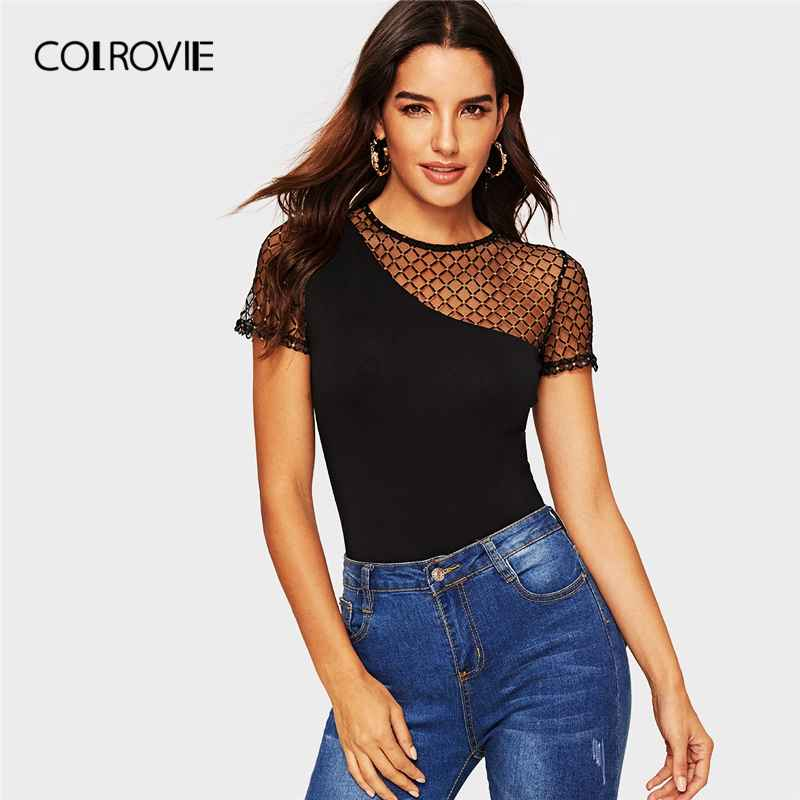 Colrovie Black Solid Rhinestone Mesh Shoulder Form Fitted Preppy T-Shirt