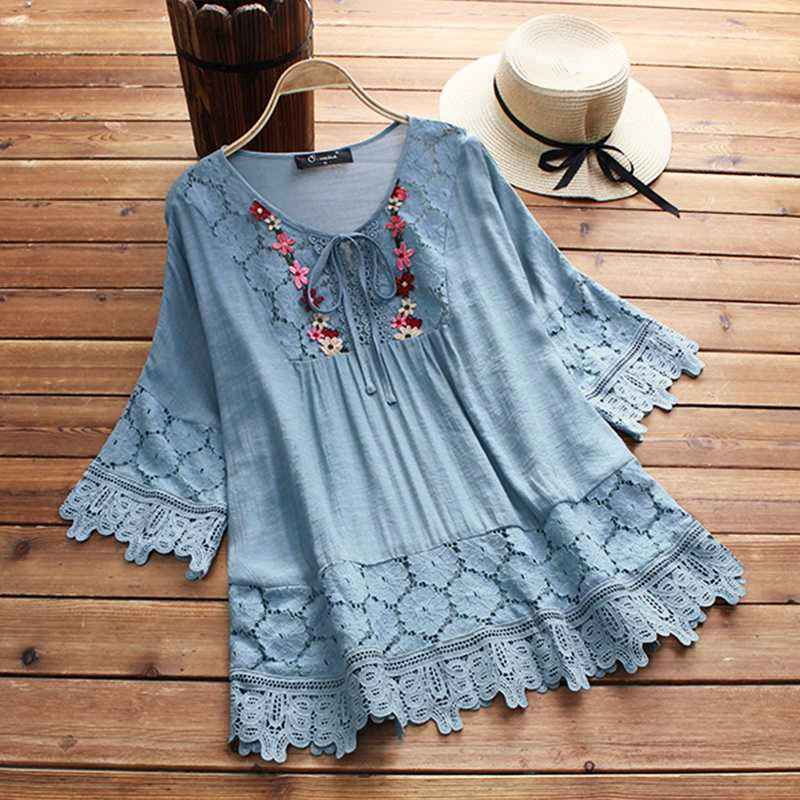 Blouses zanzea 2019 summer lace crochet blouse women patchwork lace