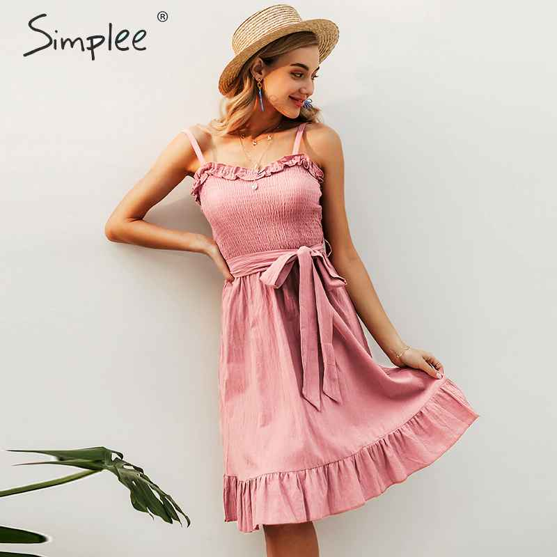 Sleeveless Ruffle Elegant Dress Women Ruched Sashes Bow Cotton Summer