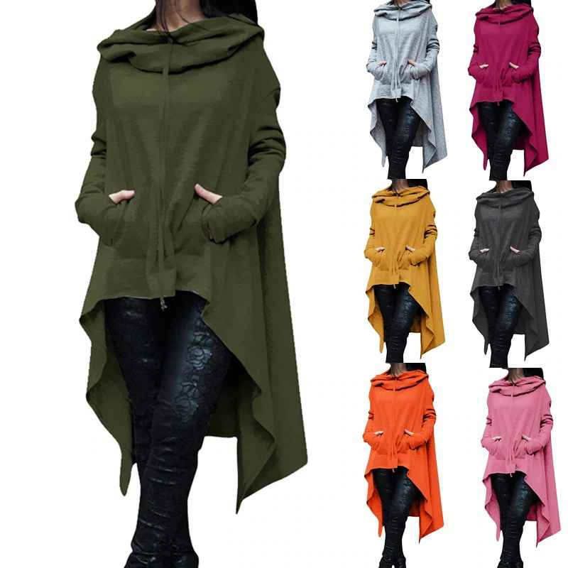 2019 Irregular Hoodies Solid Color Fashion Oversize Hoodies Sweatshirt Women