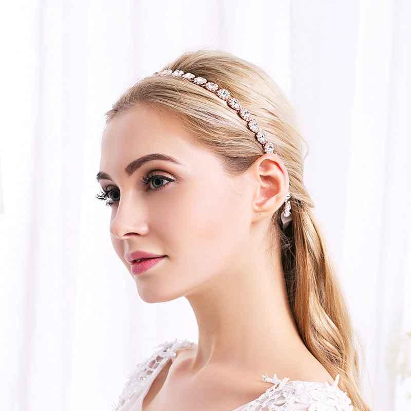 New Bridal Headband Handmade Luxury Gold Rhinestone Inlay Headwear Wedding