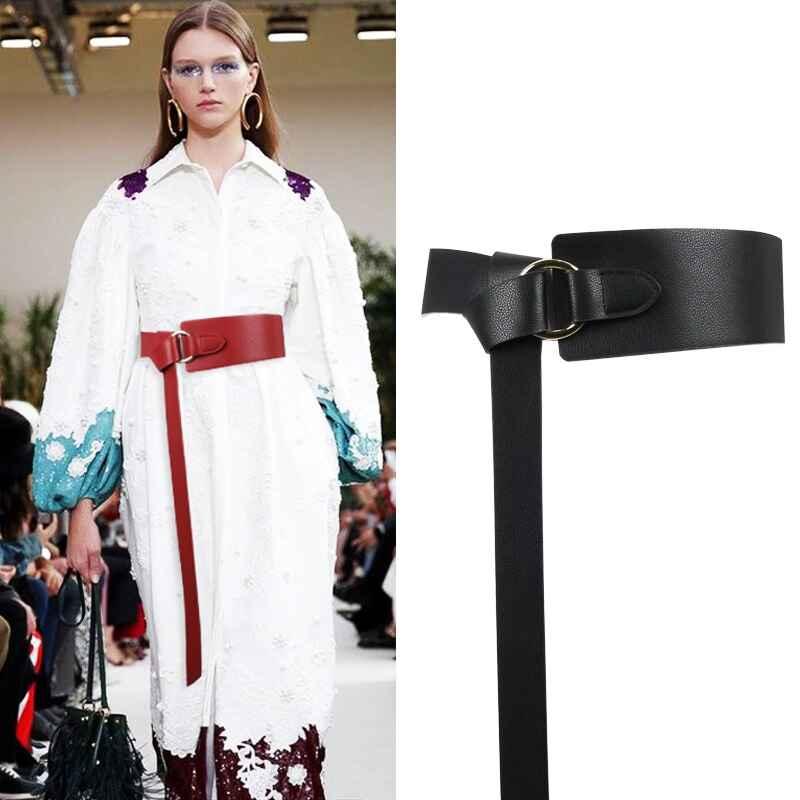New Black Wide Corset Leather Belt Female Tie Obi Waistband