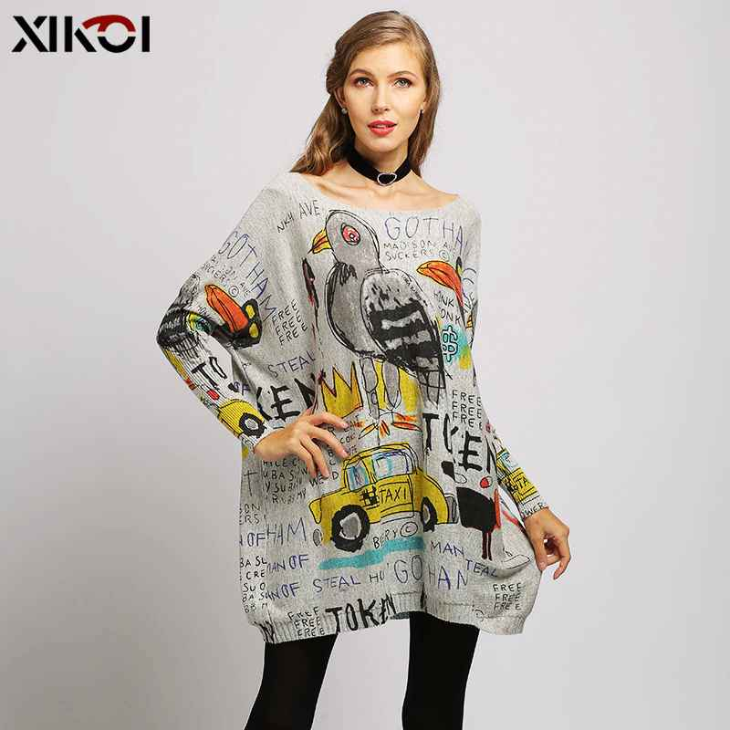 Xikoi Winter Sweaters For Women Oversized Pullovers Novel Superman Animals