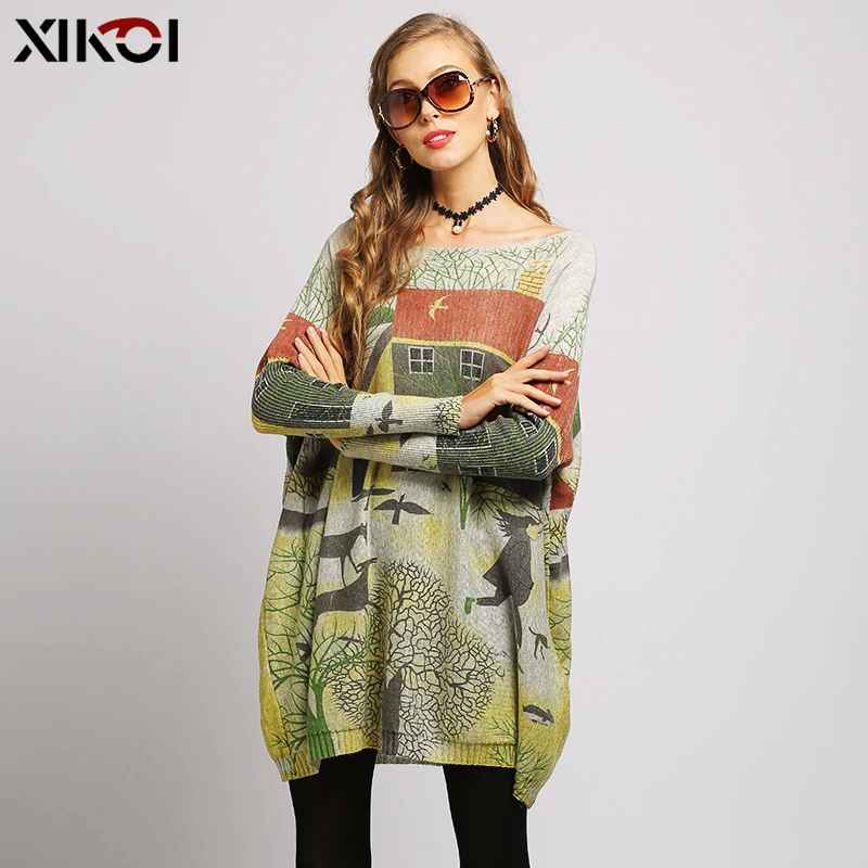 Xikoi Oversize Sweater Women Pullover Dress Pull Femme Relax Countryside