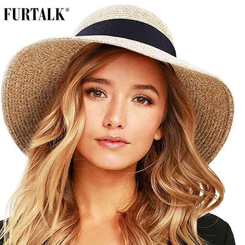 Furtalk Summer Hat For Women Beach Sun Hat Straw Hat