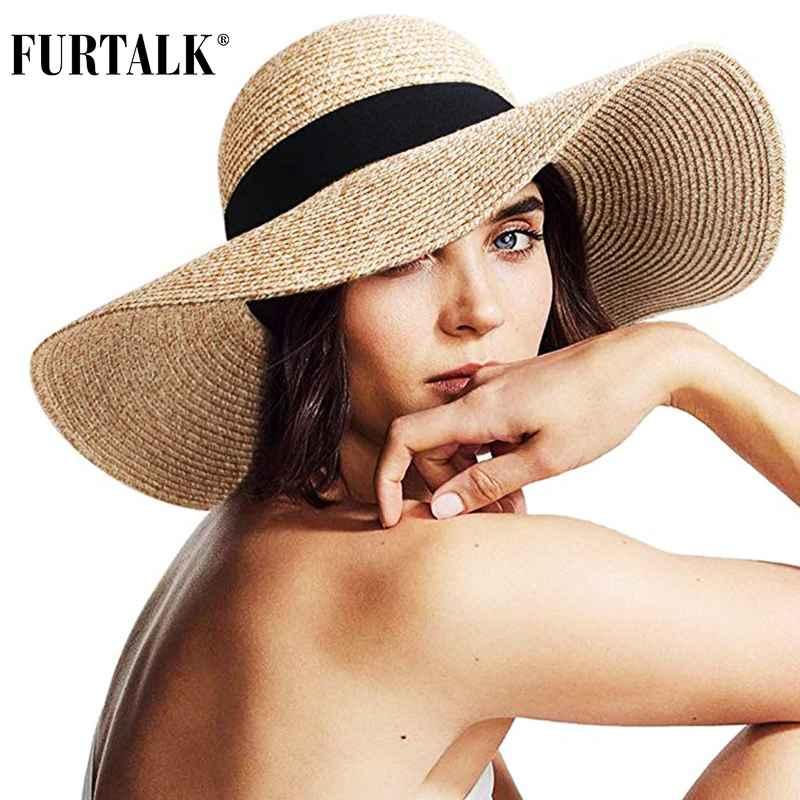 Furtalk Sun Hat For Women Summer Straw Hats Foldable Roll