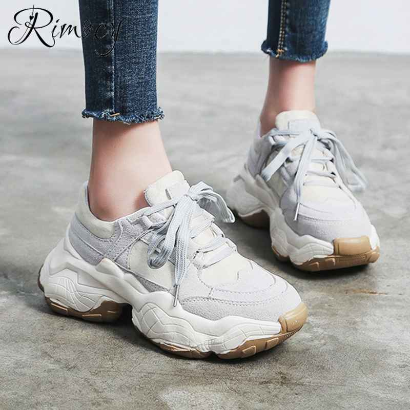 Rimocy 2019 Autumn Casual Shoes Woman Lace Up Round Toe
