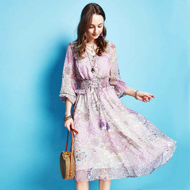 Artka Spring Summer New Women Vintage Dress Three Quarter Printing