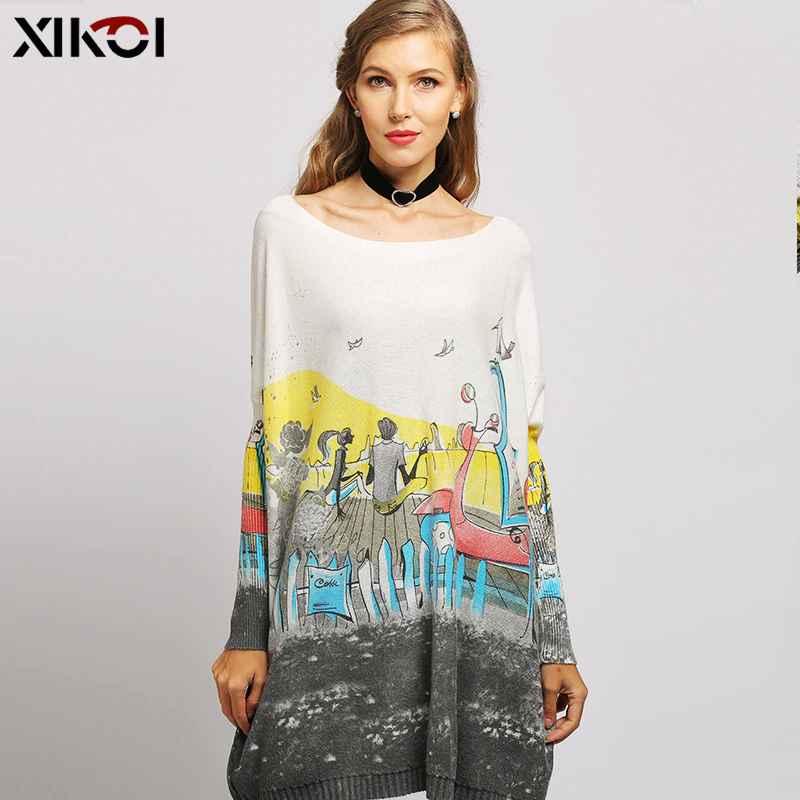 2019 New Romantic Love Story Print Knitted Sweater Women Oversized