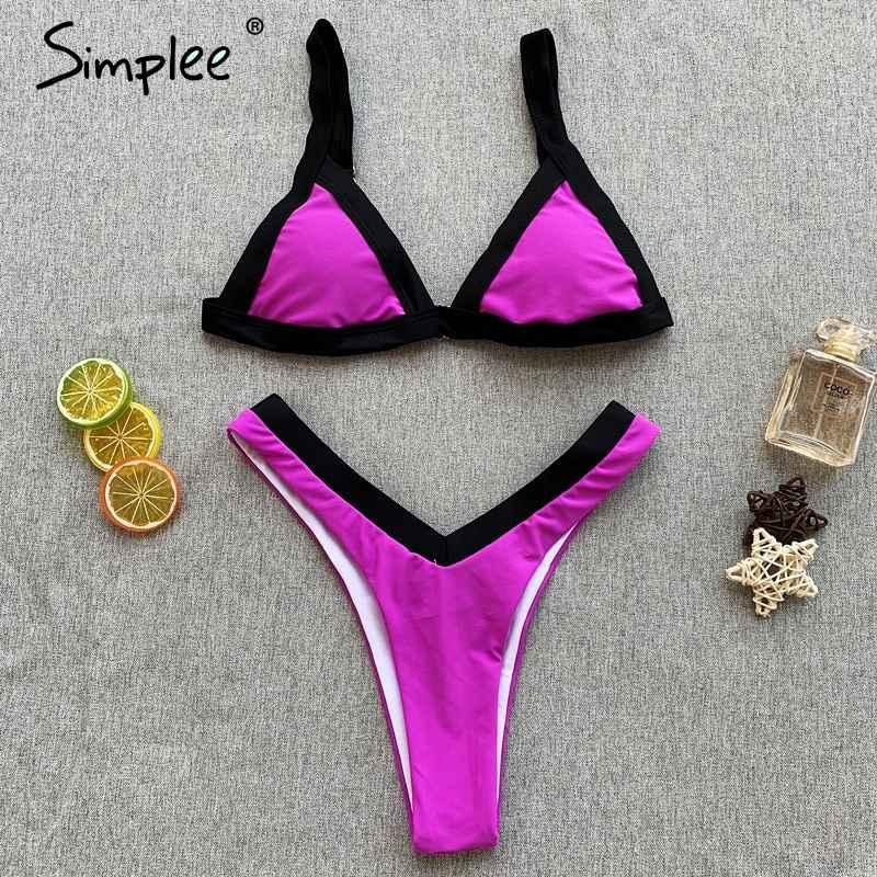 Swimwear Simplee Strap Leopard Print Women Swimsuit Bra Brief Sets