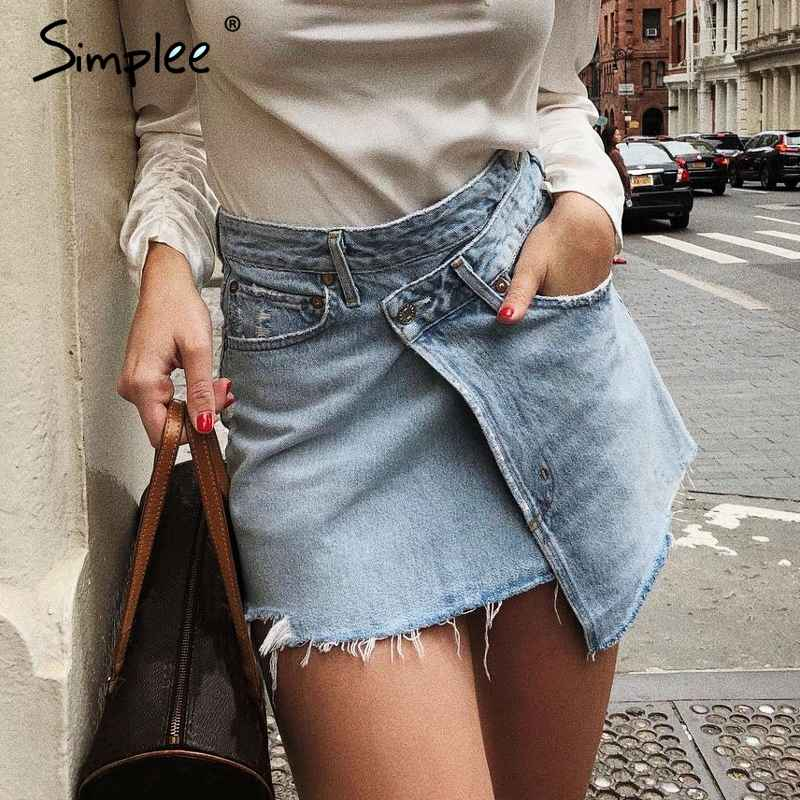 Skirts Simplee Elegant Denim Skirt Women Summer Casual Streetwear Short