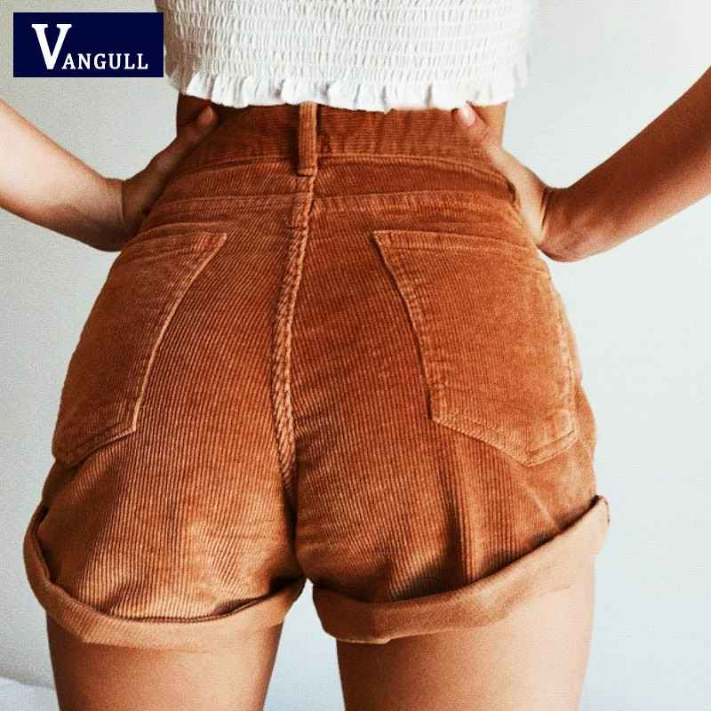Shorts vangull elastic high waist corduroy shorts new women casual
