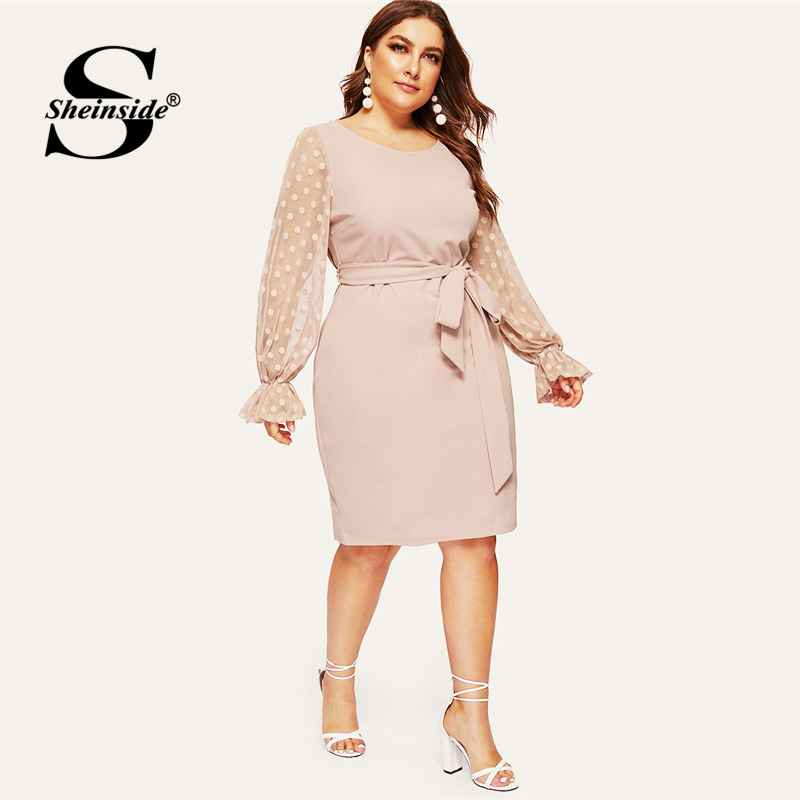 Plus Size Dot Mesh Sleeve Midi Dress Women 2019 Spring