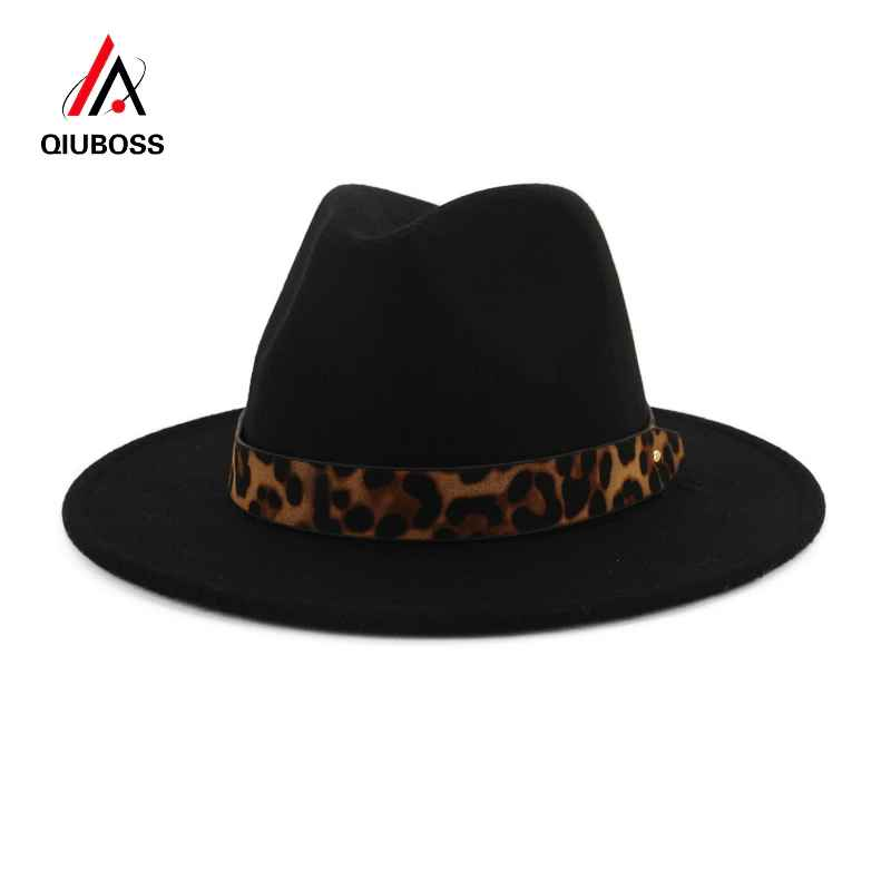 Qiuboss Unisex Wool Felt Jazz Fedora Hats With Leopard Grain