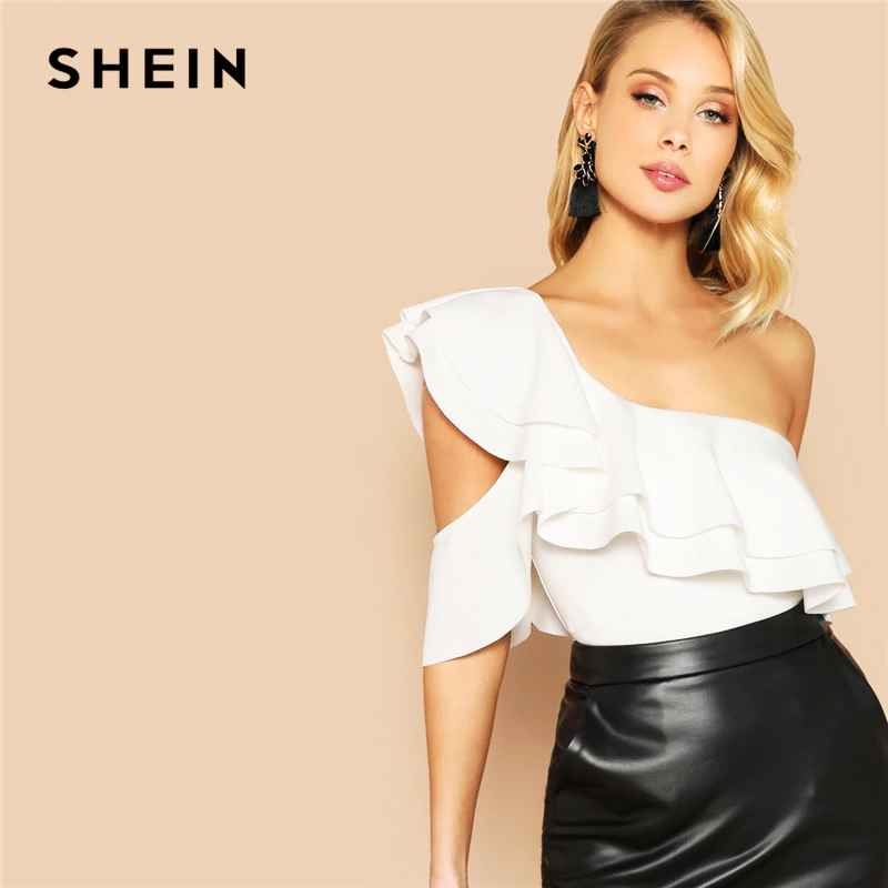 Layered Ruffle One Shoulder Mid Waist Skinny Backless Bodysuit Women