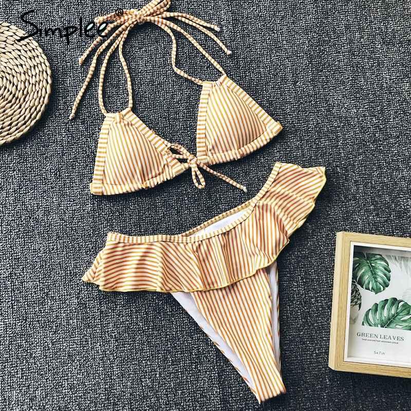Swimwear Simplee Striped Ruffled Swimwear Triangle Push Up Two Piece