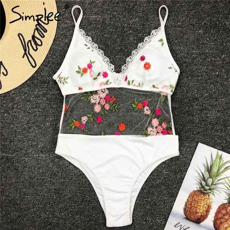 Swimwear Simplee White Lace Embroidery One Piece Bikini Set Mesh