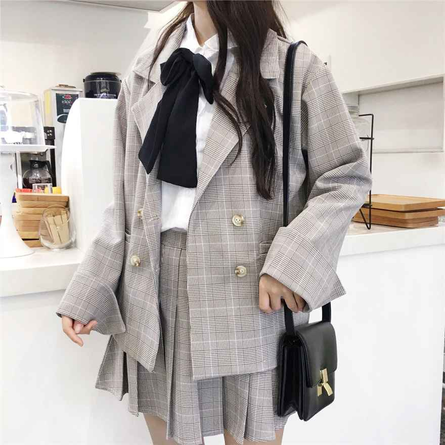 Coats mumuzi preppy style plaid suit blazers and pleated skirt