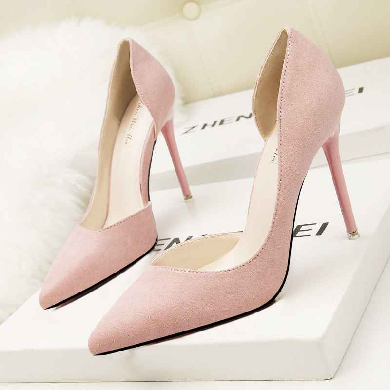 Women Fashion Summer Sexy High Heels Suede Leather Pointed Toe