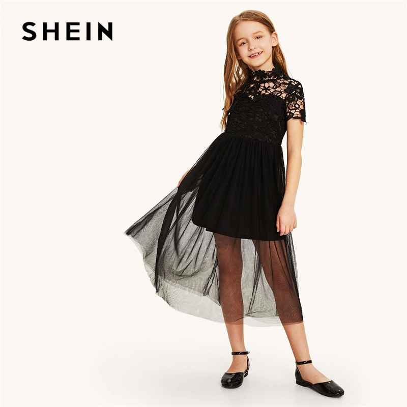 Kiddie Black Stand Collar Guipure Bodice Mesh Overlay Girls Party